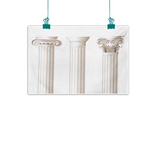 Doric Columns - Modern Frameless Painting Pillar Architecture Themed Design Ionic Doric and Corinthian Marble Columns Digital Print for Living Room Bedroom Hallway Office W24 xL20 Coconut