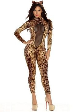 Forplay Kitty Kat Headband and Jumpsuit With Mesh Inset, Brown, X-Small/Small - Sexy Kitty Cat Costumes