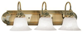 Livex Lighting 1003-01 Bath Vanity with White Alabaster Glass Shades, Antique Brass by Livex Lighting