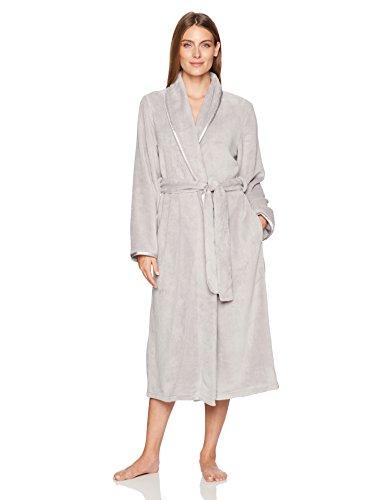 Arabella Women's Shawl Collar Plush Long Robe, Pearl Grey, (Women Maternity)
