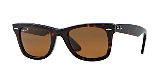 Ray-Ban RB2140 Original Wayfarer Icons Polarized Sunglasses, Tortoise/Brown, ()