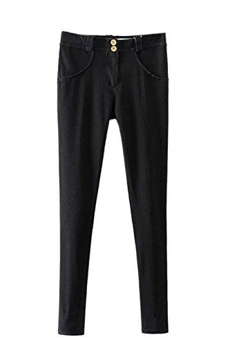 Cintura Pantalones Up Ankle Elástico La Vaqueros Mujer Ropa negro Skinny Denim Alta Casual Push wwagSqx6I