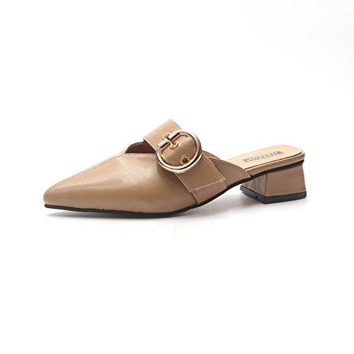 Medias Fuera Zapatos Alto Medias Baotou los Verano Muller Frescas con Wear Zapatos los Perezosos Zapatos de Blanco de de Lady Arroz Tacón 8x54XHw4q
