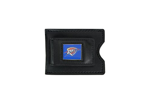 NBA Oklahoma City Thunder Men's Leather Money Clip and Card Case, 3.5 x 2.75