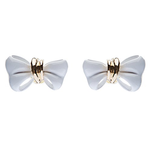 ACCESSORIESFOREVER Women Adorable Mini Ribbon Bow Epoxy Handmade Fashion Stud Earrings Gold White (Ribbon White Gold Earrings)