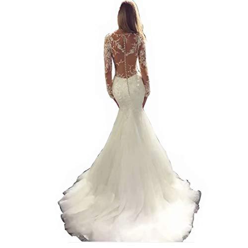 DingDingMail Vintage Long Sleeves Wedding Dresses Mermaid Sheer Illusion Back Lace Mermaid Bridal Gowns White