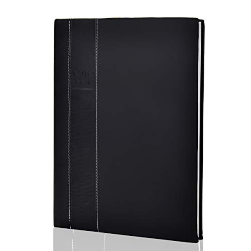 Large Notebooks and Journals Classic Hardcover Notebook 8 x 11 inch 128 Sheets (256 Pages) Leather Journals to Write in for Women Men OZCHIN (Black) - Notepro Executive Notebook