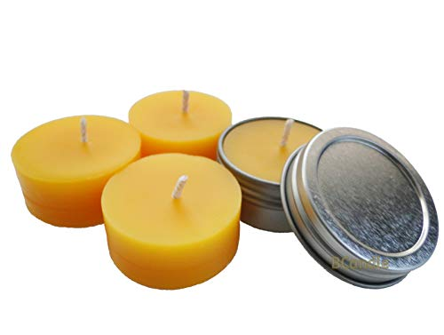 BCandle Set 100% Beeswax Tea Light in Flat Tin Container with Screwtop Cover, for Camp, Outdoor, Sports Events, Fishing (Tealight Cover)