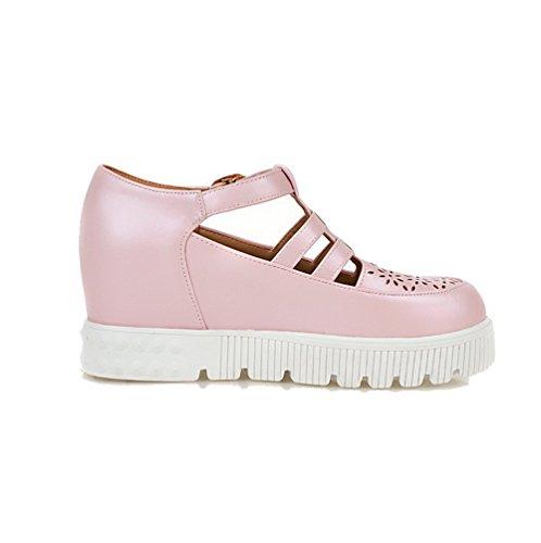 Odomolor Women's Buckle Round-Toe Kitten-Heels PU Solid Pumps-Shoes, Pink, 42
