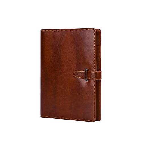 Leather Binder Journal Refillable Notebook Undated Calendar 6 Ring Spiral Ruled Notebook Diary A6 Hasp Loose Leaf Planner Brown
