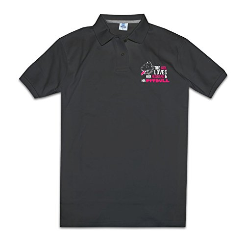 Girl Loves Her Husband & Her Pitbull Men Polo Style XXL Black