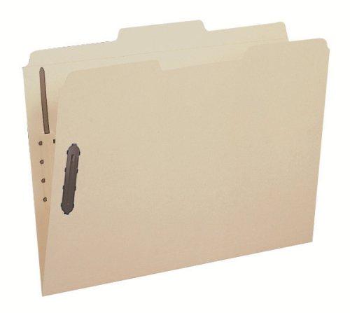 Smead Fastener File Folder, 2 Fasteners, Reinforced 1/3-Cut Tab, Letter Size, Manila, 12 per Pack (11537) (Tabbed 10 File Folders)