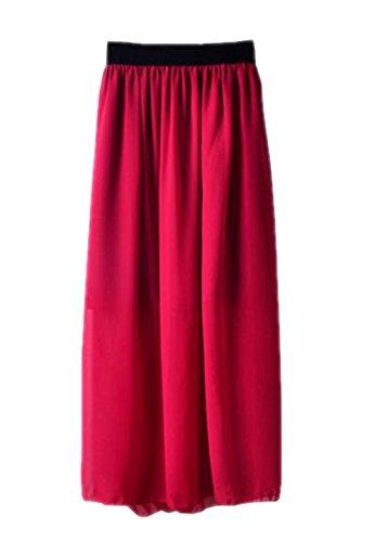 Haililais Femme Jupe Longue Taille Extensible Jupe Mousseline Glamour Skirt Grande Taille Femelle Jupe De Cocktail ElGant Jupe Dark Red