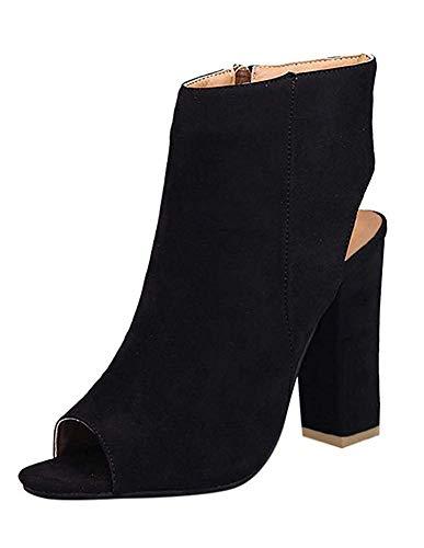 Cheville À Suède Talons Peu Femme Hauts Sandales High Noir Épais Chaussures Nœud Minetom Eté Bouche Profondes Sexy Heels Large Pointure qnwzPnIYRx