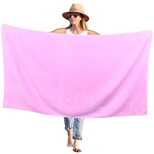 Peach B&C Beach Bath Towel Sheets Terry Velour Soft Turkish Cotton – Extra Absorbent – Quick Fast Drying – Sand Free – Perfect for Bath Travel Pool Sports Spa Swimming (1, Solid Light Pink)