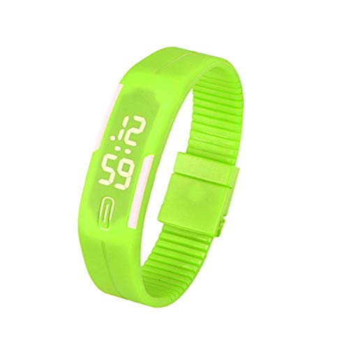 Hattfart Watches Mens Womens Simple Gel Rubber Silicone Bracelet LED Digital Display Unisex Digital Sports Watch (Green)