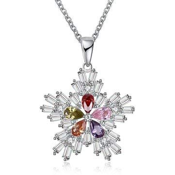 Christmas Gift Platinum Rose Gold Colorful Snowflake Pendant Necklace for Women - Fine Jewelry Fine Necklaces - (Platinum)