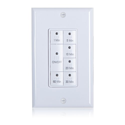 Maxxima 1875 Watt 7 Button Countdown Timer Switch Maximum 60 Minutes Delay, 1/2 HP Perfect for Bathroom Exhaust Fans, Wall Plate included