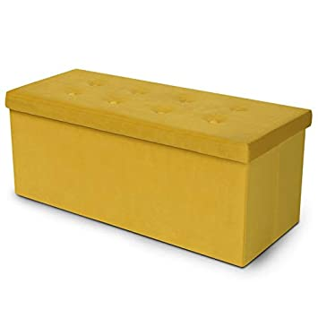 923d628c1ae3eb IDMarket - Banc coffre rangement 100 cm en velours jaune: Amazon.fr ...