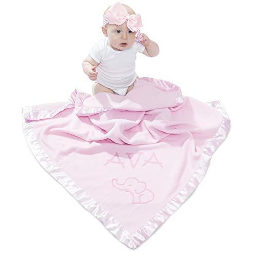 Elephant Blanket Baby Boy, Girls - Nursery Décor, Soft Plush Fleece, Pink, Blue (1 Line of Text)