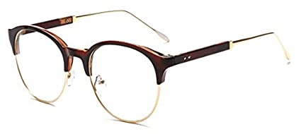 76fa12aaa2c Image Unavailable. Image not available for. Color  GigaMax TM Fashion  Eyeglasses Clear Lens Unisex Retro Glasses Round Half Frame Vintage ...