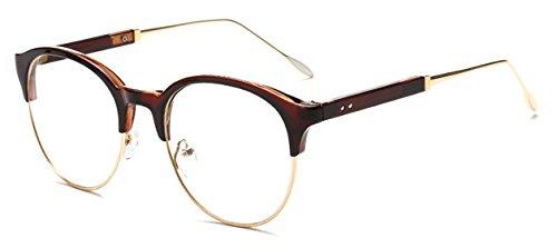 GigaMax TM Fashion Eyeglasses Clear Lens Unisex Retro Glasses Round Half Frame Vintage Eyewear Frame For Women Men's Goggles oculos de grau[ Brown ()