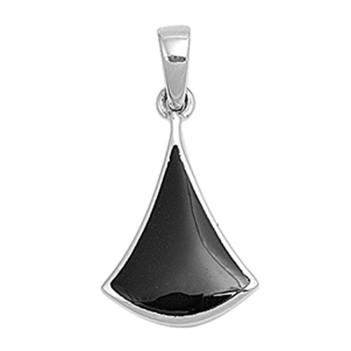 Onyx Triangle Pendant - Sterling Silver Simple Elongated Triangle Black Simulated Onyx Pendant Charm