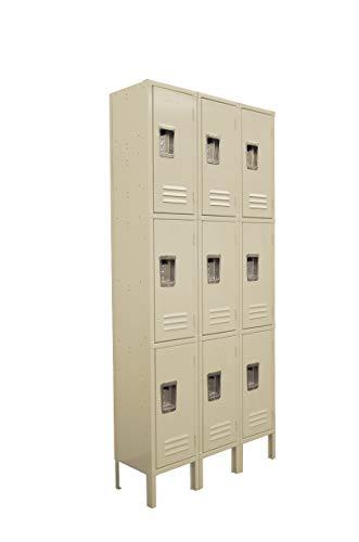 (Three Tier Locker 6 feet high 3 Wide Unit w/ 9 Doors with Louvers 12W x 12D x 78H Unassembled Tan Metal Locker Perfect as a School Locker, Gym Locker or Lockers for Employees )