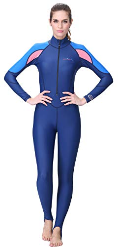 Full Body Dive Skin for Women UV Protection One Piece Wetsuit Quick Dry Swimmwear for Scuba Diving Swimming Blue M