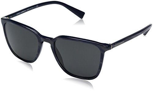 Dolce & Gabbana Men's Acetate Man Square Sunglasses, Striped Grey on Blue, 53 - Blue Sunglasses Dolce Gabbana And