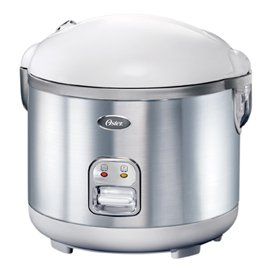 Oster 4721 10-Cup uncooked resulting in 20-Cup Cooked Rice Cooker, Stainless Steel, White
