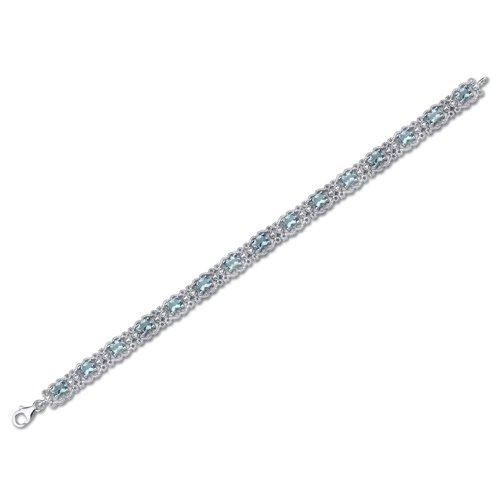 Swiss Blue Topaz Bracelet Sterling Silver 8.50 Carats Vintage Design by Peora (Image #4)