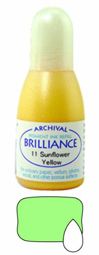 (Tsukineko 20 cc Brilliance Pigment Inker, Re-Ink Brilliance Inkpads and Dew Drops, Pearl Lime)