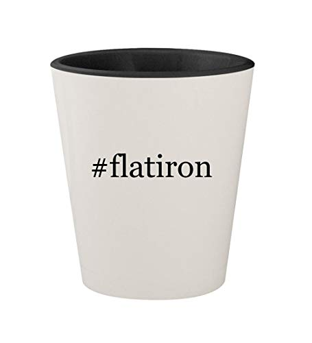 #flatiron - Ceramic Hashtag White Outer & Black Inner 1.5oz Shot - Ghb Iron Flat
