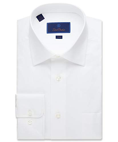 White Twill Shirt - David Donahue Men's Twill Trim Fit Dress Shirt 17-34/35 White
