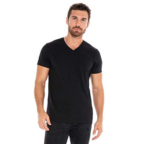 Men's Lightweight 100% Organic Cotton V-Neck Tshirt Semi-Fitted - Made in USA ()