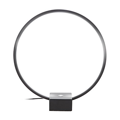 Brightech - Circle Led Usb Table & Desk Lamp - Bright Orb of Light with Built-in Dimmer Brings Sci-Fi Ambiance to Contemporary Spaces - Usb Port for Charging Iphones -12 Watts - Black