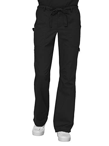 KOI Men's Big Tall James Elastic Scrub Pants with Zip Fly and Drawstring Waist, Black, Medium