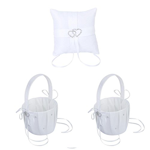 Flower Basket - SODIAL(R)2 Piece White Flower Girl Basket Crystal Rhinestone Decor and 1 piece Bag ring cushions 10 cm x 10 cm Double Heart Rhinestone Wedding Reception (Cushion Basket compare prices)