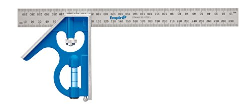 Empire Level E250M 12-Inch Heavy Duty Professional Combination Square With Etched Stainless Steel Blade, Metric Graduations and True Blue Vial