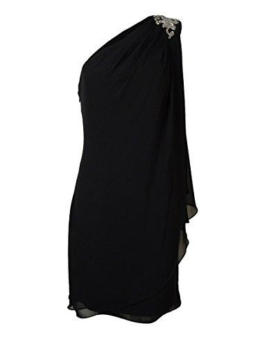js boutique beaded one shoulder chiffon dress - 1