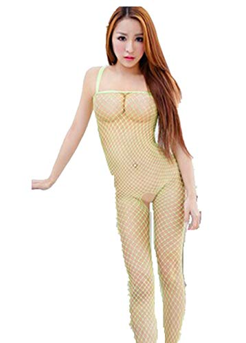 (YFancy Women Fashion Alluring Charming Fishnet Bodystocking Babydoll Lingerie Chemise Sleeveless Nightwear Solid Color Green )