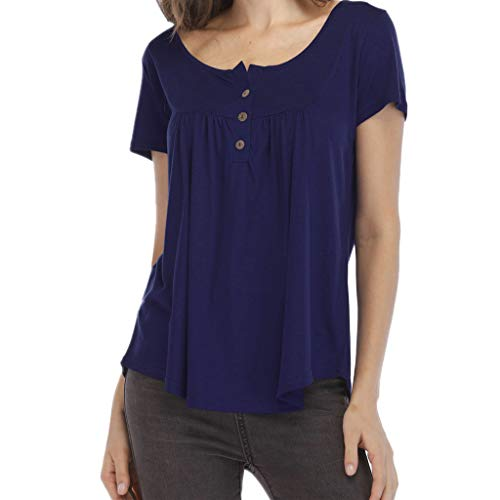 Women's Tops Round Neck Short Sleeve T-Shirts Swing Ruffle Blouses Button up Solid Tunic Casual Flowy Blouse Tops Navy ()