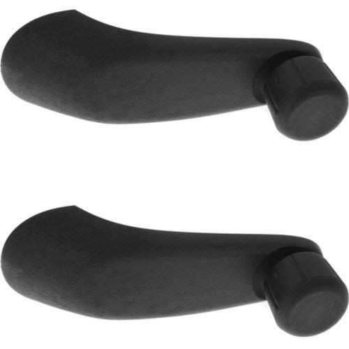 (Window Crank Set of 2 Compatible with SATURN S-SERIES 1995-2002 / Express/Savana Van 2001-2017 Front Window Handle Right Side and Left Side with Black Knob(=Rear))