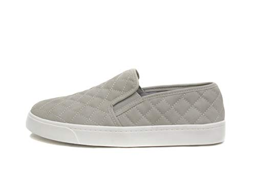 (SODA Alone Dove Gray Quilted Sneakers (5.5) gray)