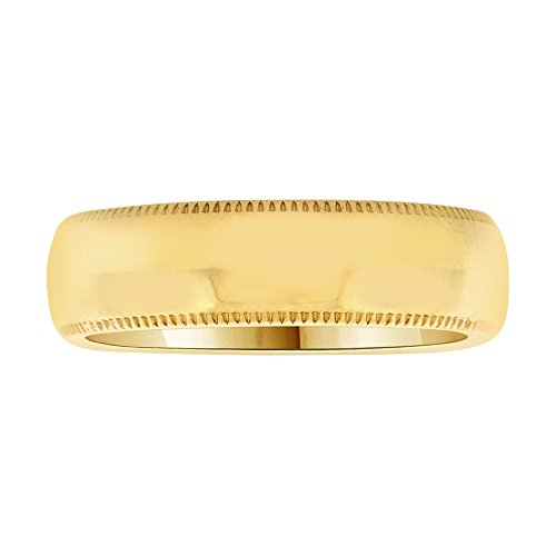14k Yellow Gold, Classic Milgrain Plain Polished Band Ring 6mm Wide Size 12 by GiveMeGold