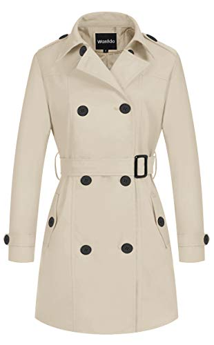 Wantdo Women's Double-Breasted Trench Coat with Belt Beige Large (Women Trench Coat Beige)