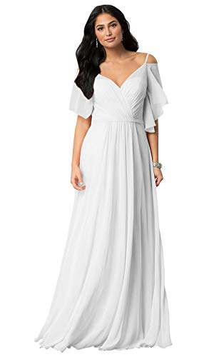 KKarine Women's V Neck Off The Shoulder Ruffled Chiffon Beach Wedding Dress Long Formal Gown (12 White)
