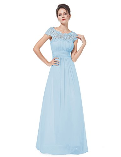 Ever-Pretty Womens Cap Sleeve Lace Neckline Ruched Bust Evening Gown 4 US Sky Blue