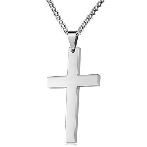 Men's Stainless Steel 3mm Curb Chain Necklace and Cross Pendant Jewelry Set 18